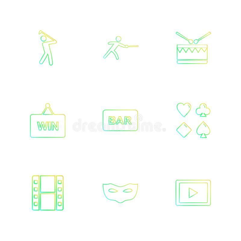 Games , sports , picinic , real estate , eps icons set vector. Games , sports , picinic , real estate , study , bowling, card , poker ,food , icon, vector vector illustration