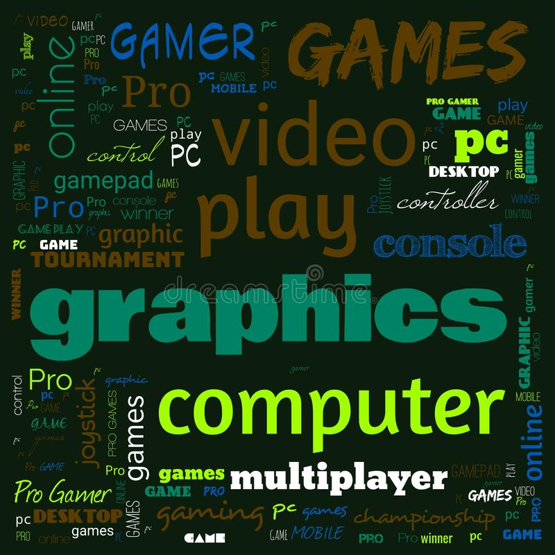 Games word cloud, this word cloud use for banner, painting, motivation, web-page, website background, t-shirt & shirt printing,. Poster, gritting, wallpaper &# royalty free stock photo