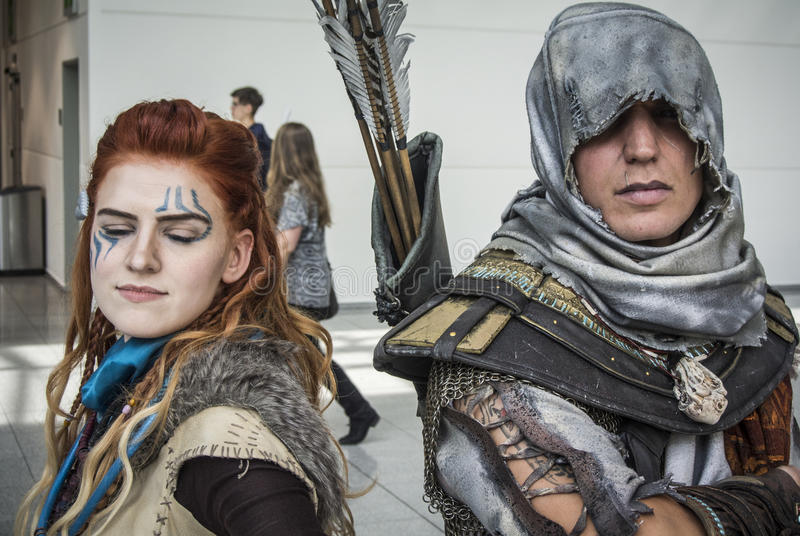 Gamescom 2017: cosplayers. Cologne, Germany, August 22th 2017: cosplayers at Gamescom 2017 royalty free stock photos
