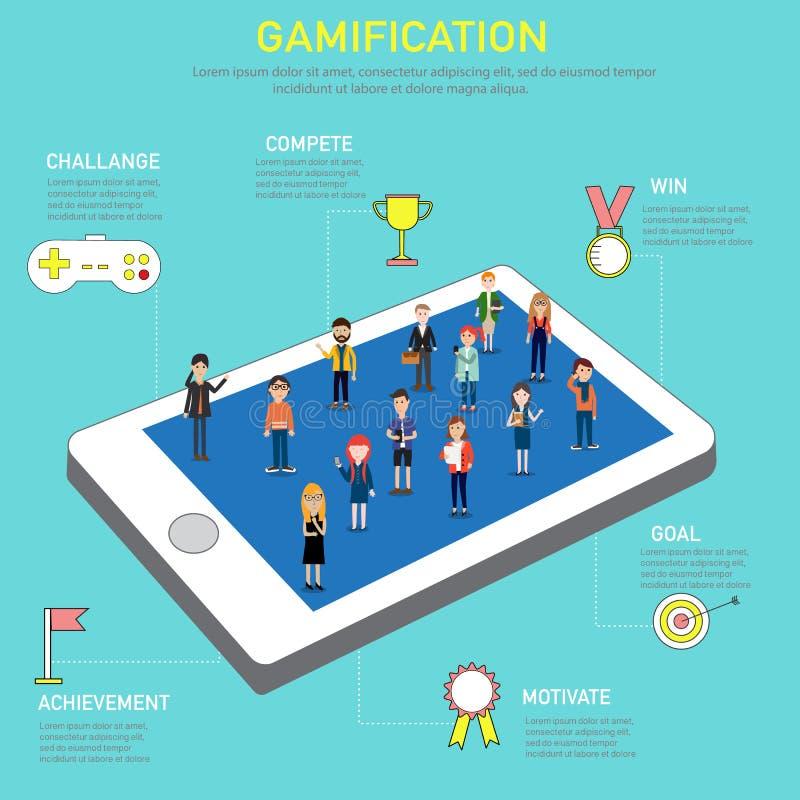 Gamification数字式和社会媒介标记的战略概念 皇族释放例证