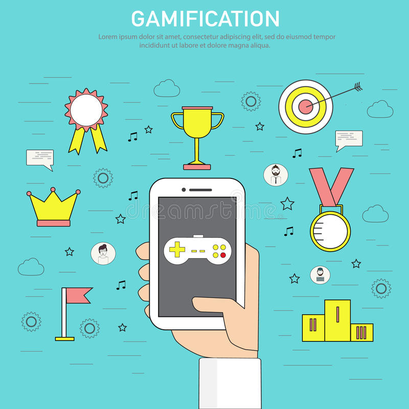 gamification数字式和社会m的战略概念乱画  向量例证