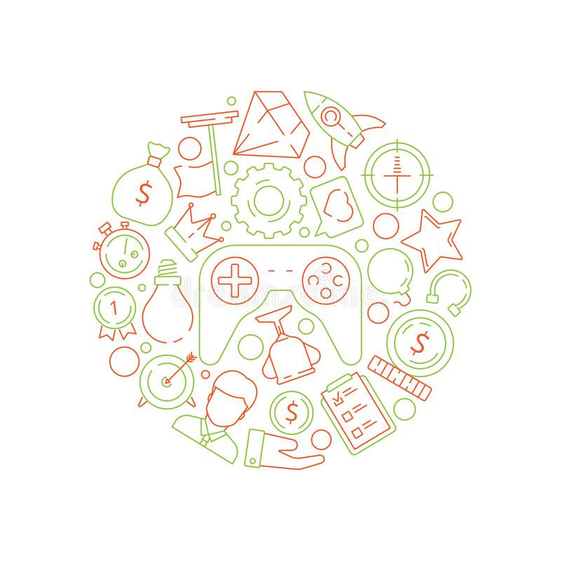 Gamification background. Gamification business concept achievement rules for work competitive challenge vector symbols. In circle shape. Illustration prize vector illustration