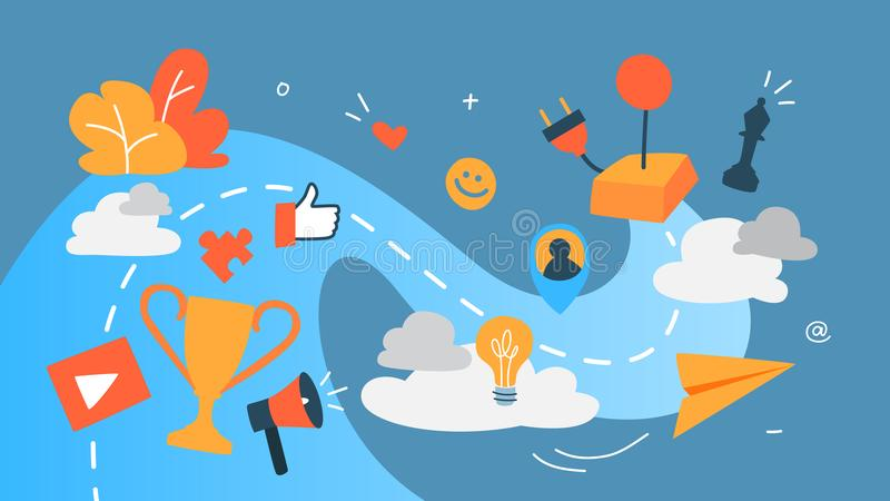 Gamification concept illustration. Gamification concept. Integrating game mechanics into website or app design. Customer engagement. Idea of competition. Set of stock illustration
