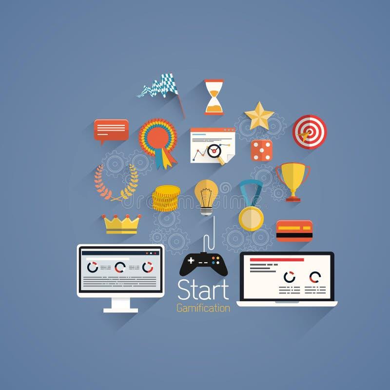 Gamification dans la conception plate d'affaires illustration stock