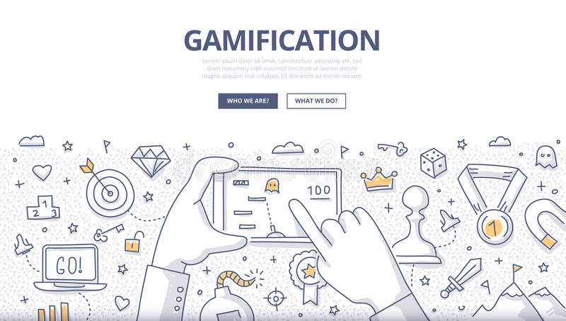 Gamification Doodle Concept. Doodle concept of gamification strategy, modern social media marketing, technology & innovation. Modern line style illustration for stock illustration