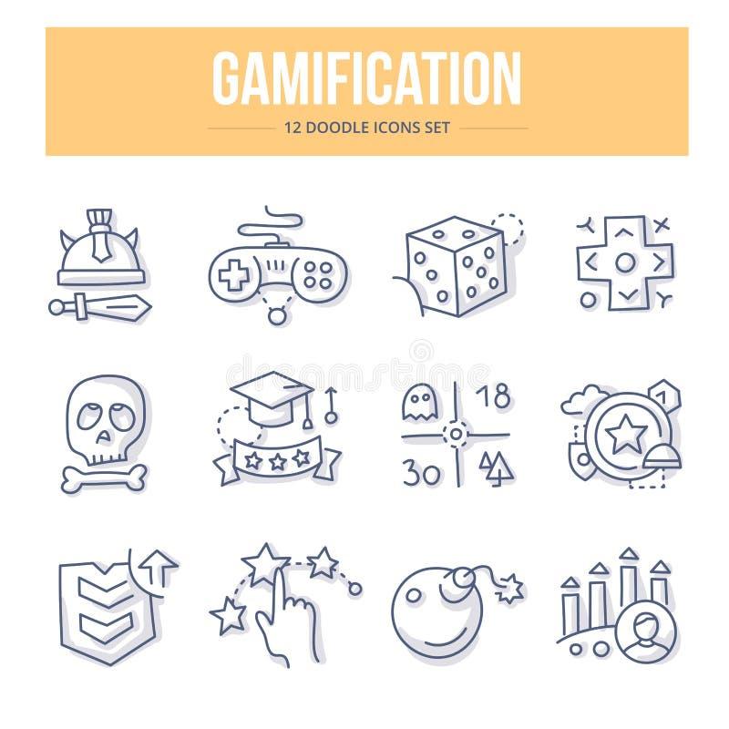 Gamification Doodle ikony ilustracji