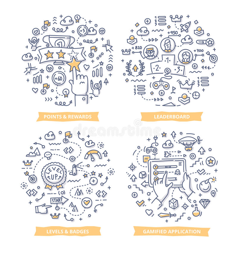 Gamification Doodle Illustrations vector illustration