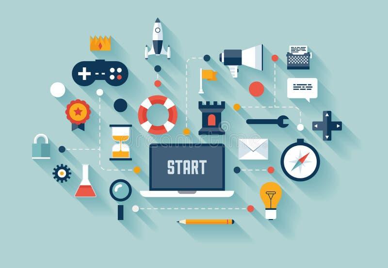 Gamification en el ejemplo del concepto del negocio ilustración del vector