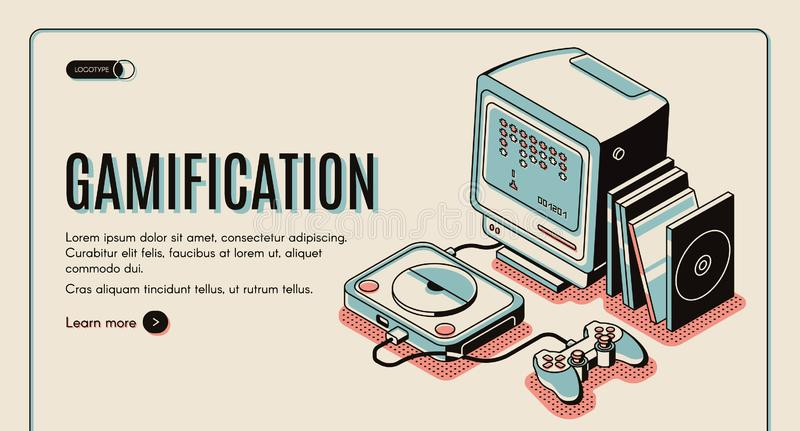 Gamification, gamer playing console, playstation vector illustration
