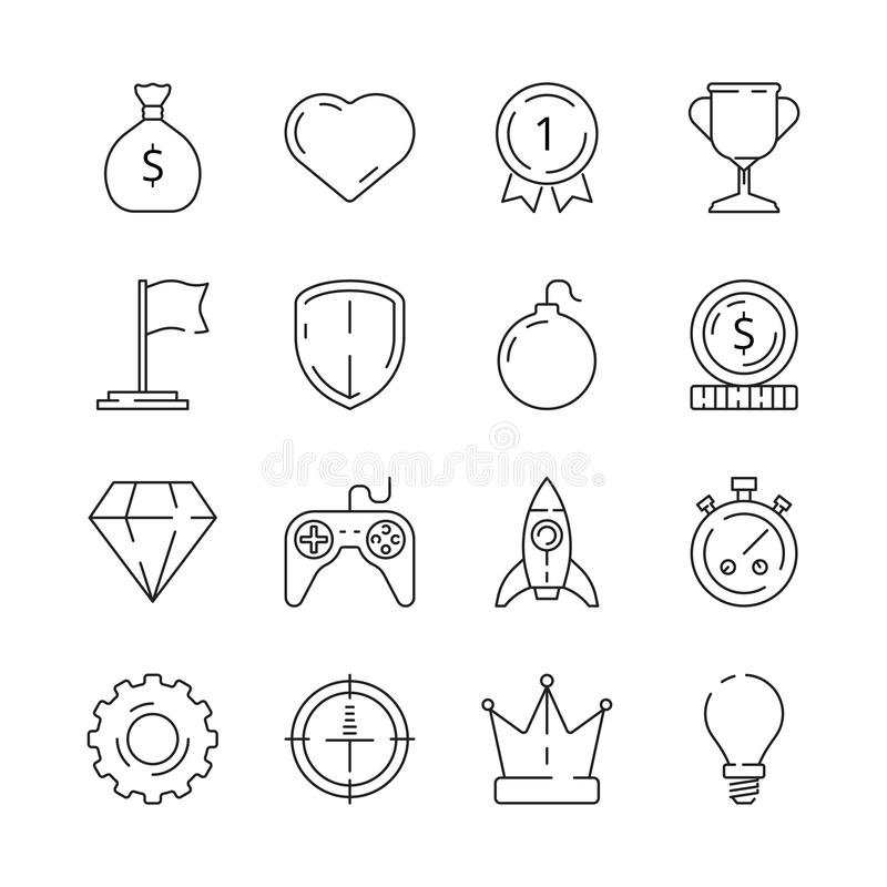 Gamification icon. Business rules achievement for workers challenge motivation competitive advantage managers efficiency. Vector symbols. Illustration royalty free illustration