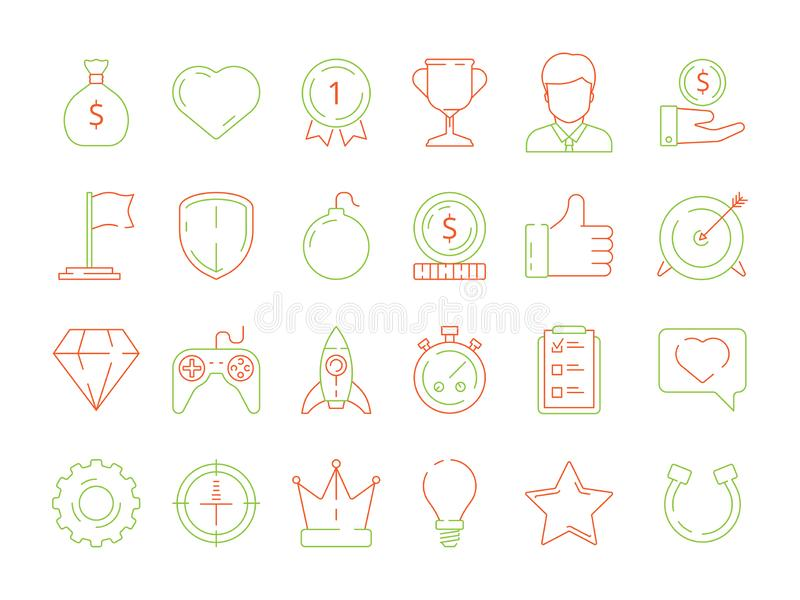 Gamification icons. business achievements line icon set for competitive office managers, advantage vector thin linear stock illustration