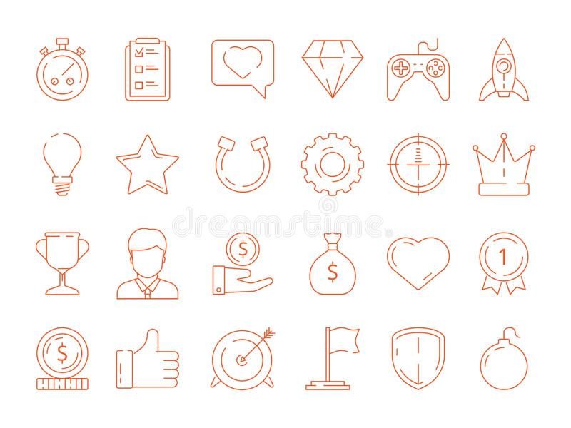 Gamification symbols. Business achievements rules for gamers competitive managers working playing vector icon. Gamification and achievement, competition reward stock illustration