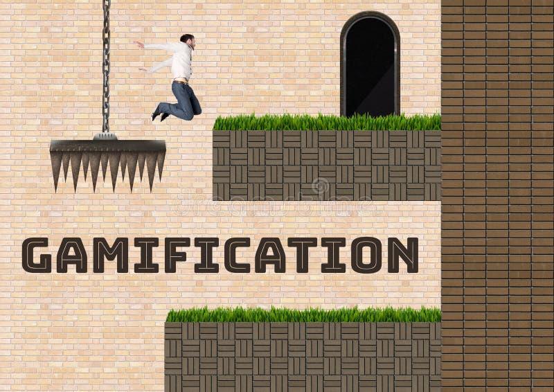 Gamification text och manbanhoppningen i dataspel jämnar och fällor royaltyfri illustrationer