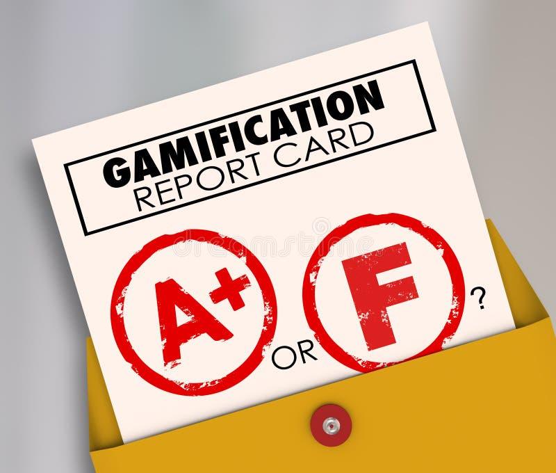 Gamifications-Schulzeugnis-Erfolgs-oder Ausfall-Ergebnisse Gamify lernen lizenzfreie abbildung