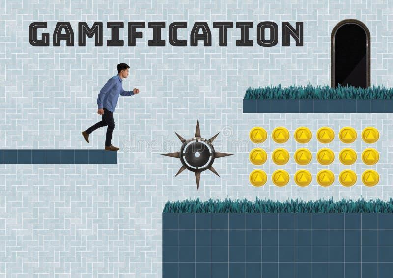 Gamificationtekst en Mens in het Niveau van het Computerspel met muntstukken en val vector illustratie