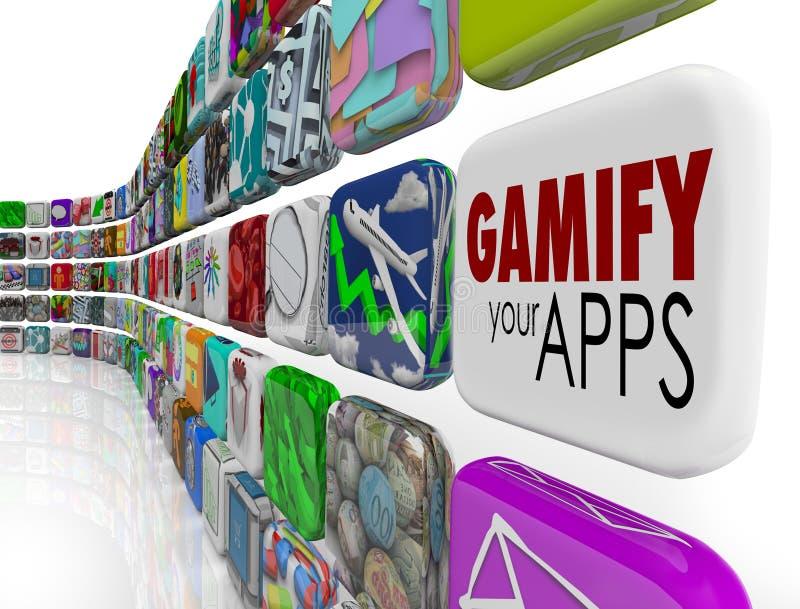 Gamify che il vostro software Gamification di Apps impegni conservano i clienti illustrazione vettoriale