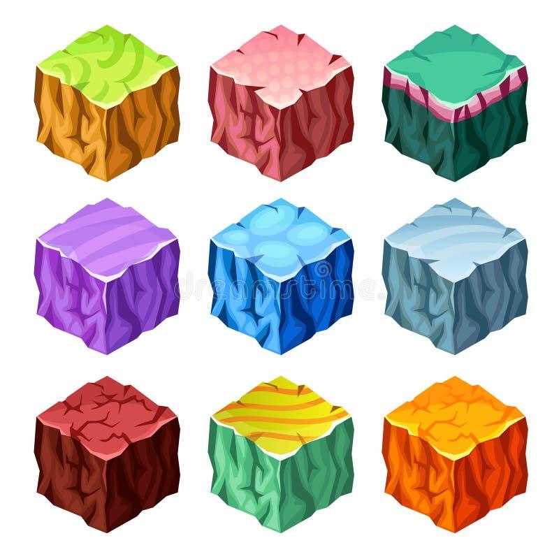 Gaming Cubes Landscape Elements Isometric Set stock illustration