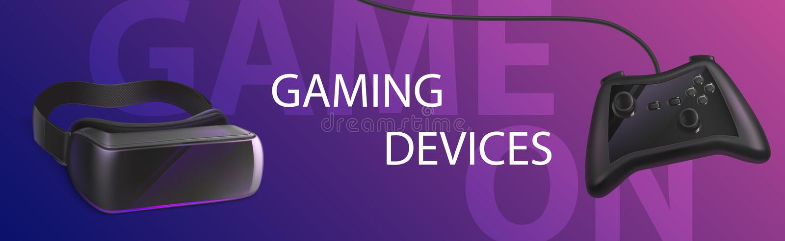Gaming devices vr glasses and gamepad banner. Gaming devices vr glasses and gamepad banner, virtual reality goggles, controller joystick, tools for playing royalty free illustration