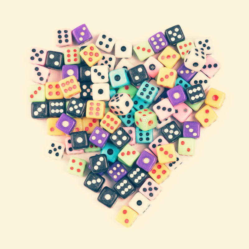 Gaming dice heart symbol royalty free stock image