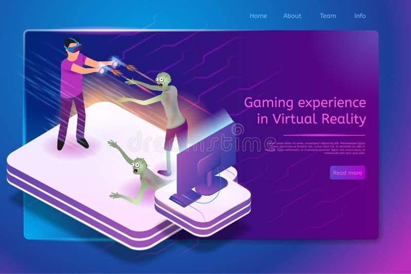 Virtual Gaming Service Isometric Vector Web Banner stock illustration