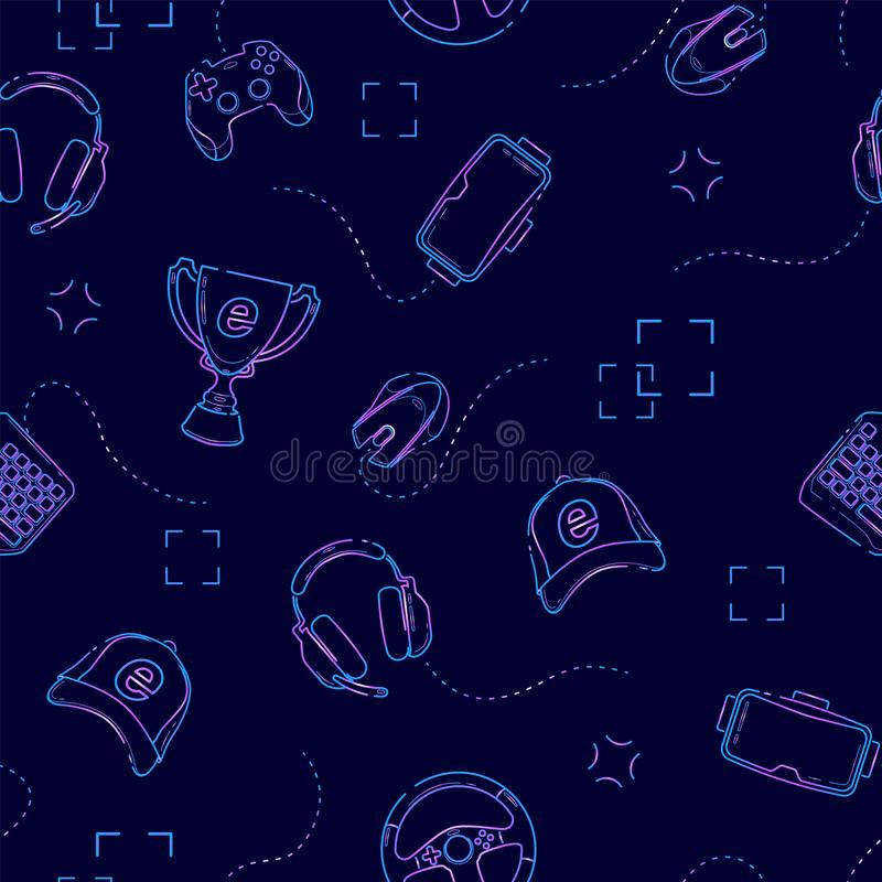 Gaming gadgets seamless pattern in deep blue, outline. Esports, pc and console games, virtual reality themes. On deep blue background vector illustration