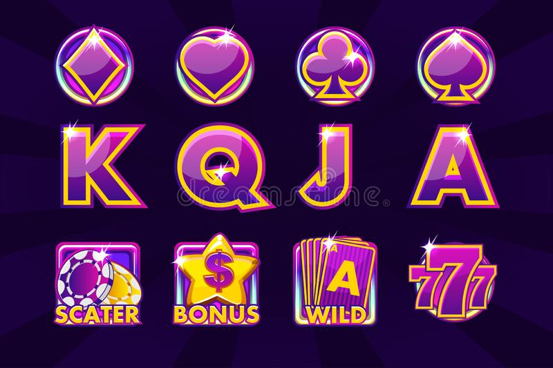 Gaming icons of card symbols for slot machines or casino in purple colors. Game casino, slot, UI vector illustration