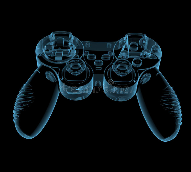 Gaming joystick. (3D x-ray blue transparent isolated on black vector illustration
