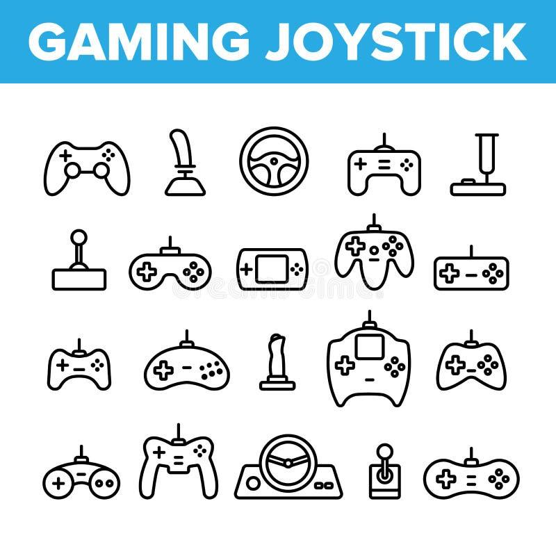 Gaming Joystick Vector Thin Line Icons Set stock illustration