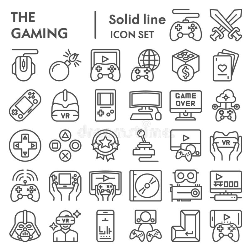 Gaming line icon set, video games symbols collection, vector sketches, logo illustrations, gaming devices signs linear. Pictograms package isolated on white stock illustration