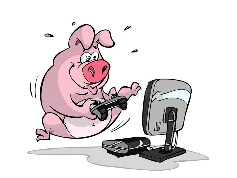 Gaming pig royalty free illustration