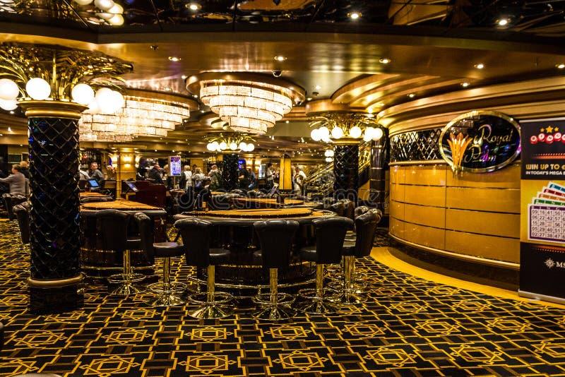 Gaming slot machines in gambling casino, Cruise liner Splendida, MSC royalty free stock image