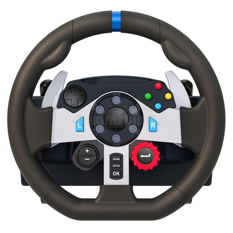 Gaming steering wheel, 3D rendering. Computer racing game steering wheel, 3D rendering isolated on white background royalty free illustration