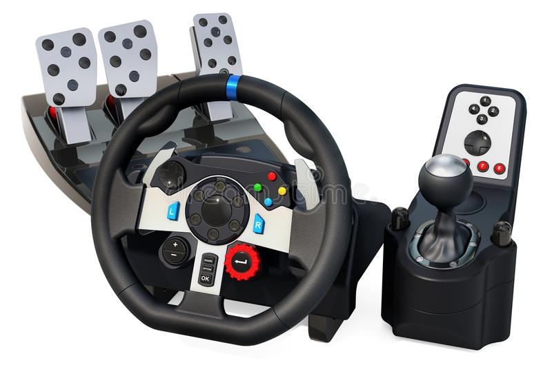 Gaming steering wheel with foot pedal and vibration feedback, 3D rendering. Isolated on white background stock illustration