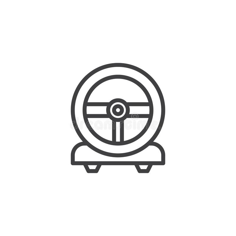 Gaming steering wheel line icon. Linear style sign for mobile concept and web design. Racing game steering wheel outline vector icon. Symbol, logo illustration royalty free illustration
