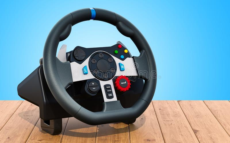 Gaming steering wheel on the wooden table. 3D rendering. Gaming steering wheel on the wooden table. 3D stock illustration