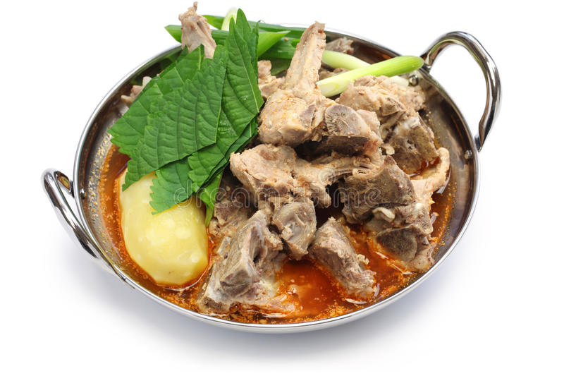 Gamjatang, pork bone and potato soup, korean cuisine stock photography