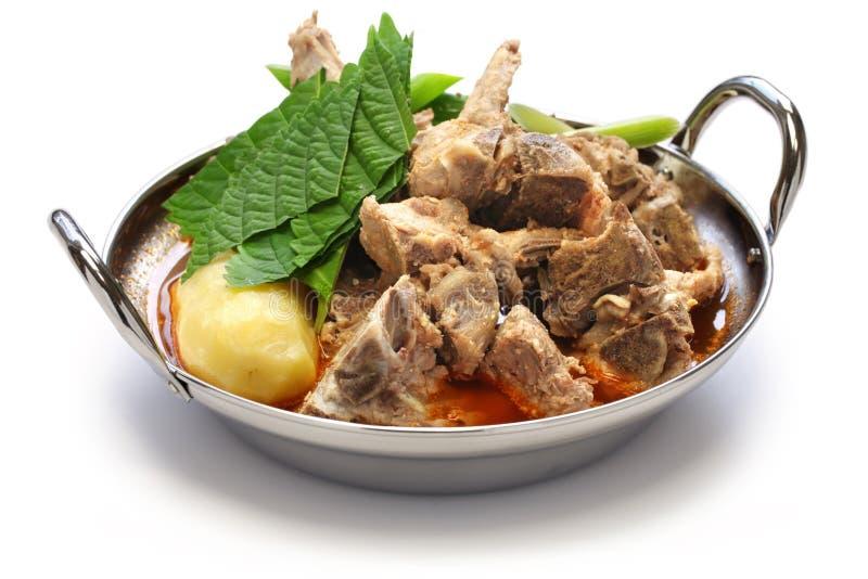 Gamjatang, varkensvleesbeen en aardappelsoep, Koreaanse keuken stock afbeeldingen