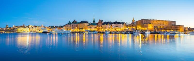Gamla斯坦地平线全景视图在斯德哥尔摩市,瑞典 库存照片