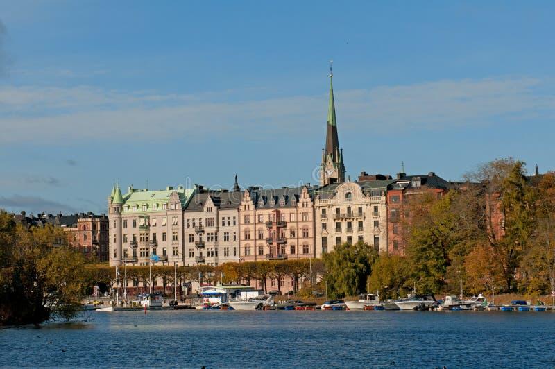 Gamla老stan斯德哥尔摩瑞典城镇视图 库存图片