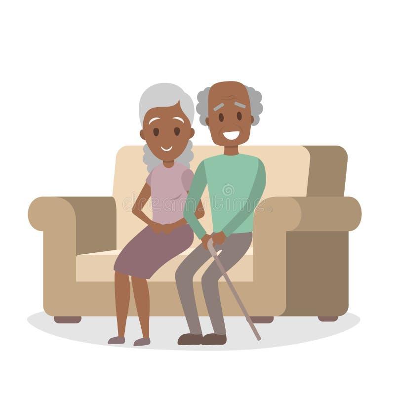 Gamla afrikansk amerikanpar på soffan royaltyfri illustrationer