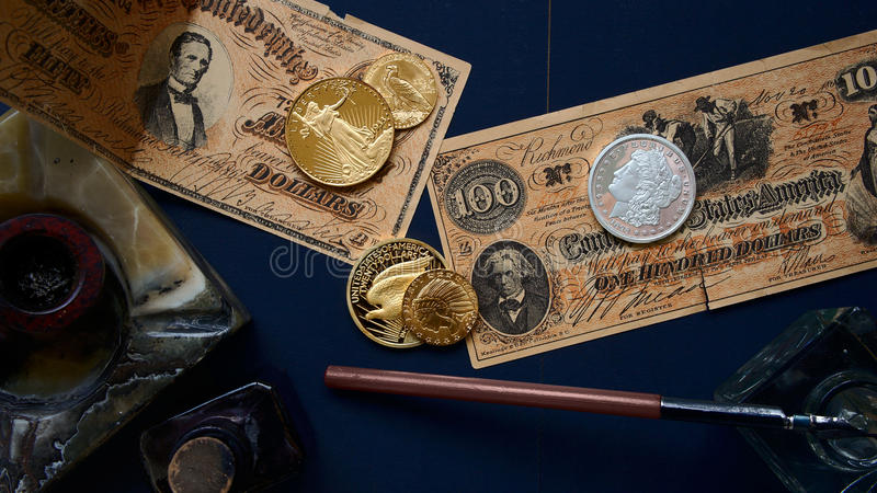 Gamla amerikanska pengar royaltyfria foton