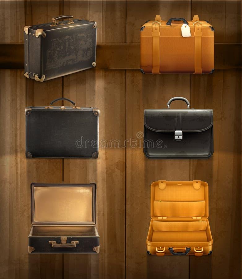 Gamla bagagesymboler stock illustrationer