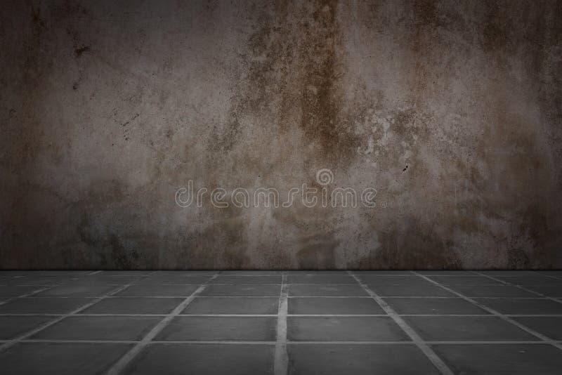 Gamla betongvägg- och golvtegelplattor royaltyfria foton