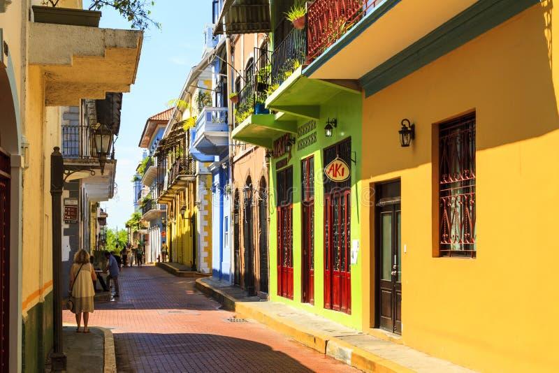 Gamla byggnader av Panama City, arkivfoton