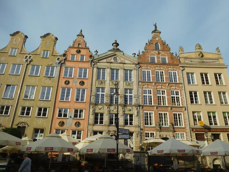 Gamla byggnader i Danzig den historiska mitten, Polen arkivbilder