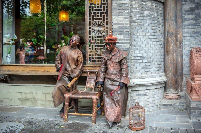Gamla byggnader i Kuan Alley och Zhai Alley, Chengdu, Sichuan royaltyfri bild