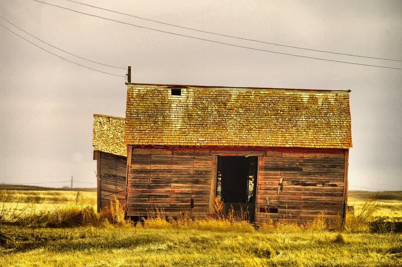 Gamla byggnader i västra North Dakota arkivfoto