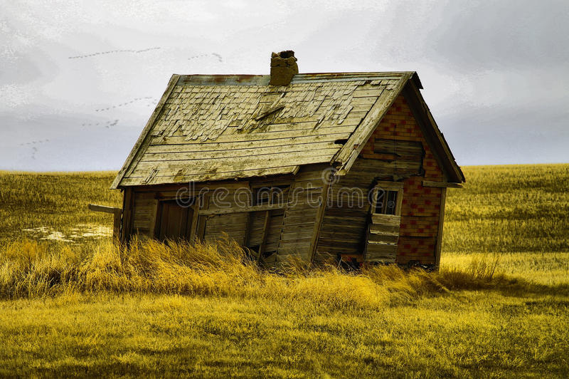 Gamla byggnader i västra North Dakota royaltyfri foto