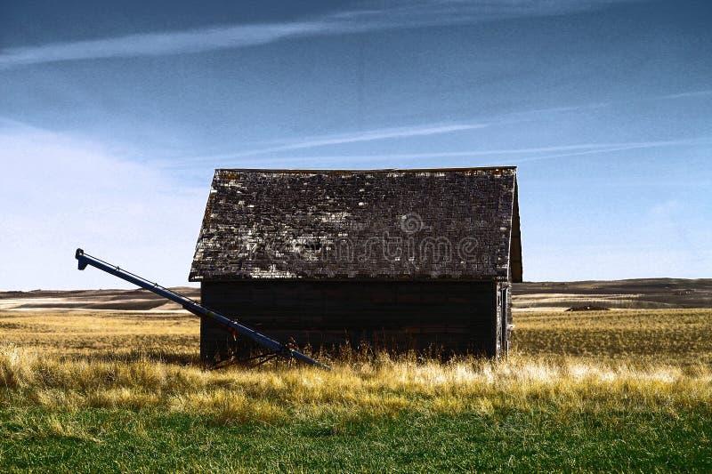 Gamla byggnader i västra North Dakota arkivfoton