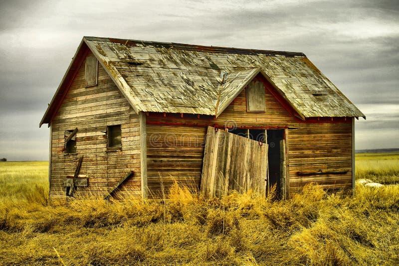 Gamla byggnader i västra North Dakota royaltyfri bild